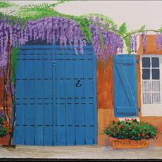 Wisteria Bastide town. 400mm x 300mm acrylic on canvas.