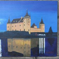 Muiderslot Castle Holland in Moonlight. 24