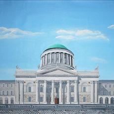 Dublin's Four Courts as it looked in 1916. No trees along the Quays at that time. 1200mm x 530mm acrylic on canvas. Limited edition giclee prints are available for sale in two sizes 1200mm x530mm and 500mm x 225mm.