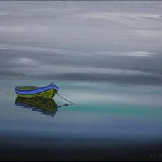 500mm x 400mm Grey / Blue / Green Oils on canvas with satin varnish finish. Tranquility No 2