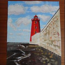 Poolbey lighthouse Dublin Bay. 400mm x 500mm acrylic on canvas.SOLD