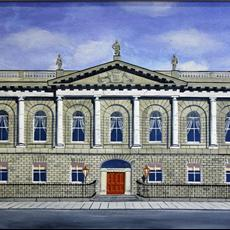 Dublin's Royal College of Surgeons of Ireland. Painting is 800mm x530mm acrylic on canvas. Limited edition giclee prints available for sale in full size and 525mm x325mm.