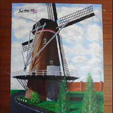 Windmill Holland No 4. 400mm x 500mm acrylic on canvas.