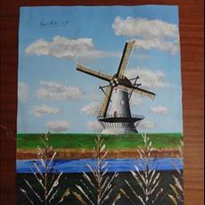 Windmill Holland No 3. 400mm x 500mm acrylic on canvas.SOLD